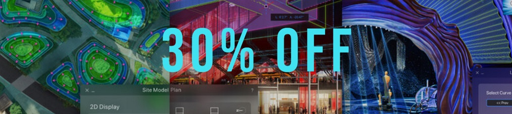 Get 30% off any purchase of New Vectorworks New, Upgrades and New VSS